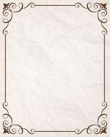 Simple calligraphic frame with wrinkled paper texture vector illustration.