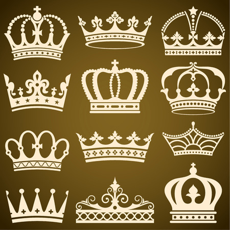jeweled: Set of flat crowns vector illustration.