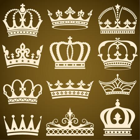 Set of flat crowns vector illustration.