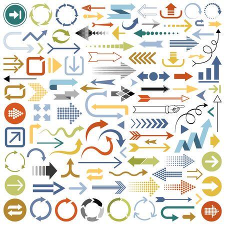 Set of multicolored Arrows vector illustration.