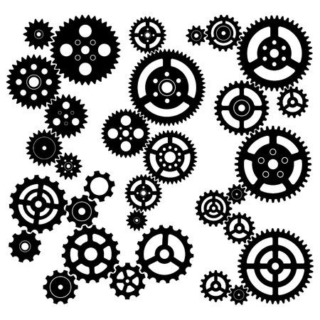 歯車回路のベクトル図です。すべての区切られた要素を保存したファイル。高解像度の jpeg ファイルには、(4000 x 4000) が含まれています。  イラスト・ベクター素材