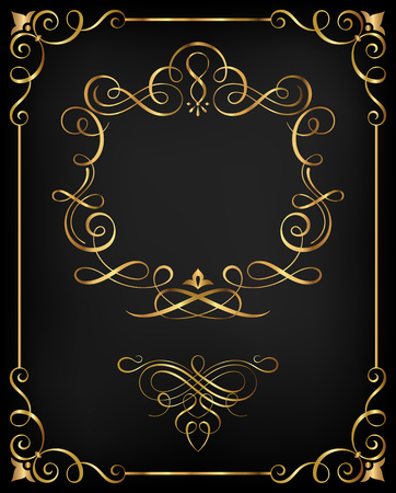 gold corner: Calligraphic frame and ornate scroll elements vector illustration.Saved in file with all separated elements. Well constructed  for easy editing. Hi-res jpeg file included (4021x5000). Illustration