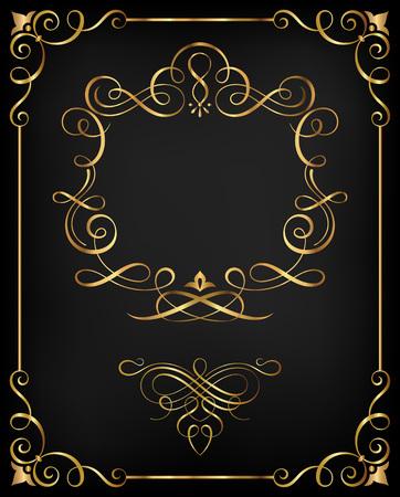 Kaligraficzne ramki i ozdobne elementy spiralne wektorowe illustration.Saved w pliku ze wszystkimi rozdzielonych elementów. Dobrze skonstruowane do łatwej edycji. Hi-Res jpeg plik włączone (4021x5000). Ilustracje wektorowe