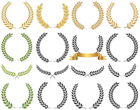 Set of laurel wreath vector illustration. Clean and smooth design and Fully editable. 일러스트