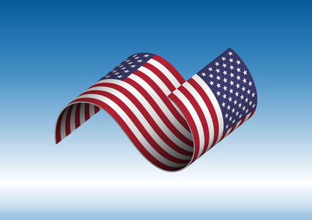 American flag flying vector illustration. with transparencies.