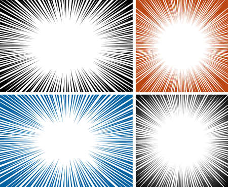 Set of burst background vector illustration. Eps 10. No effect or transparencies.