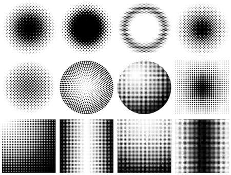 Set of halftone dots vector illustration. 일러스트