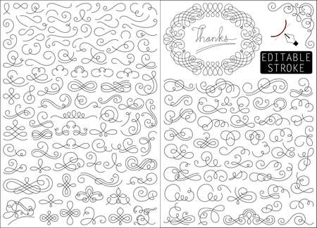 Set of line drawing elements vector illustration.