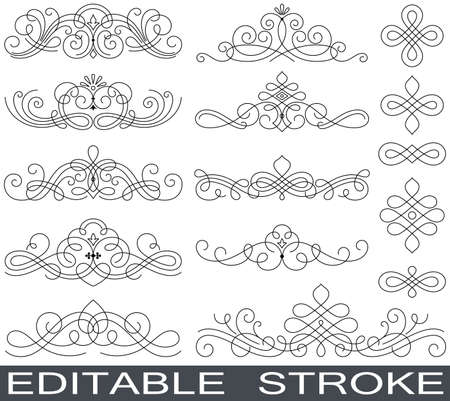 Set of line drawing elements vector illustration. Eps 10. Editable (unexpanded) stroke with minimum anchor points.