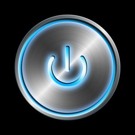 energia electrica: Bot�n de encendido Foto de archivo