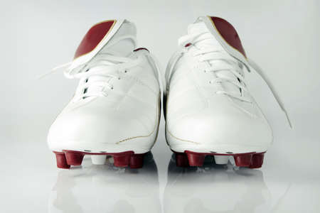 White leather soccer shoes photo