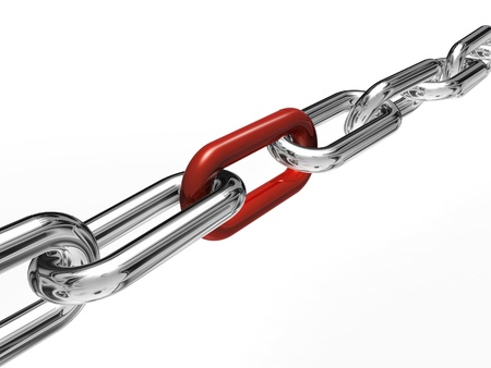 metal chain: Red link chain Stock Photo
