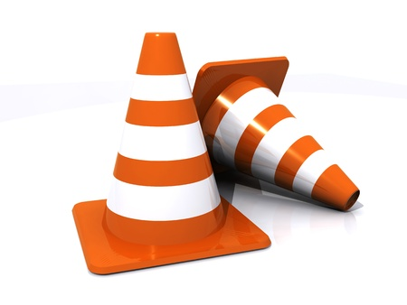 road barrier: Two traffic cones