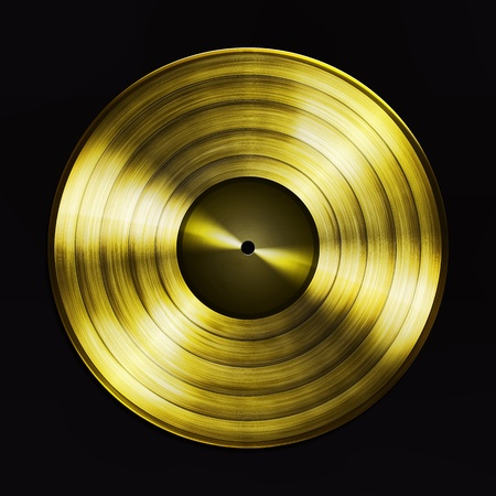 gramophone: Gold record Stock Photo