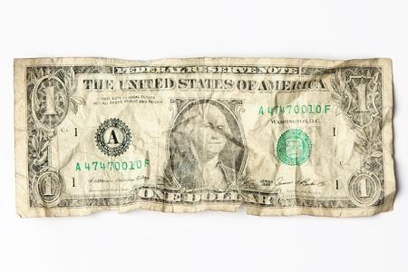 Old crumpled one dollar bill Stock Photo