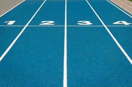 Blue running track Stock Photo - 9844278