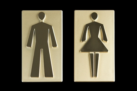 male symbol: Golden restroom signs  Stock Photo