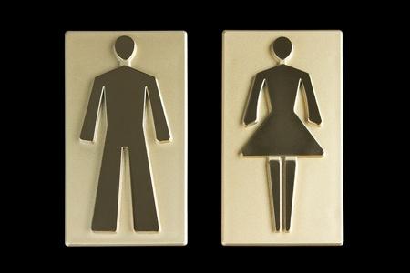 room access: Golden restroom signs  Stock Photo