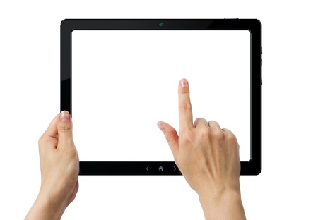 Hands holding PC tablet  Stock Photo