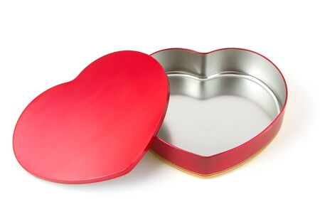 Open, heart shaped, stainless steel box photo