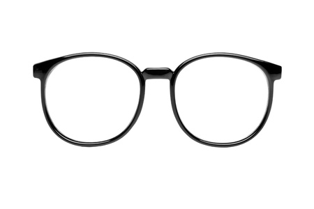 black nerd glasses isolated on white photo
