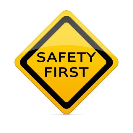 veiligheid bouw: VEILIGHEID teken op wit met het knippen van weg