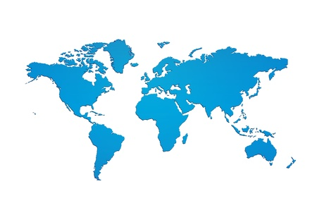 Blue world map silhouette photo