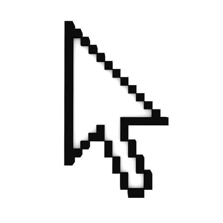 mouse cursor: Front view at the computer mouse arrow