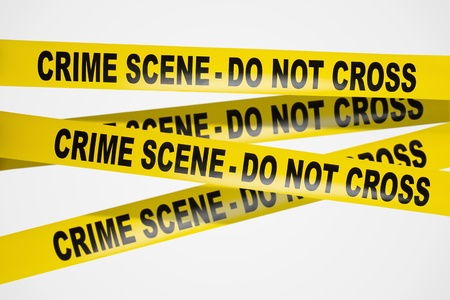 Yellow crime scene tape on white background photo