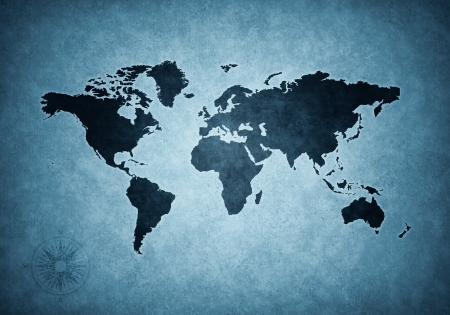 oversea: Grunge blue world map illustration