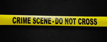 Crime scene yellow tape with clipping path so you can easy remove the background Stock Photo