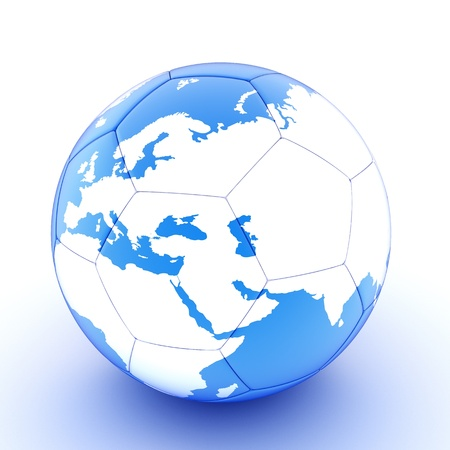 Blue soccer ball with world map on it photo