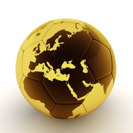 Golden soccer ball with world map photo