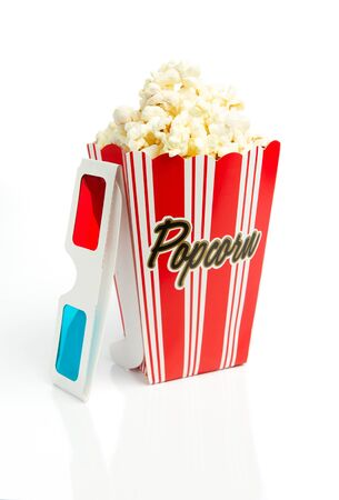 Popcorn with 3d glasses Stock Photo - 10425417