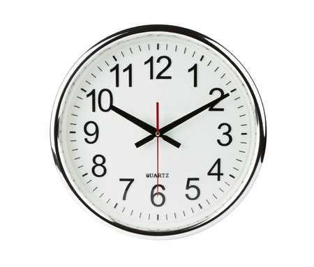 black clock hands: Clock isolated on white with clipping path