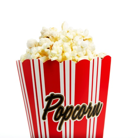 Close up of a popcorn box isolated on white photo