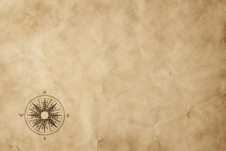 mapa del tesoro: Windrose sobre el viejo papel de grunge con espacio de copia Foto de archivo