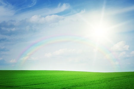 Summer landscape with rainbow Stock Photo - 10675338