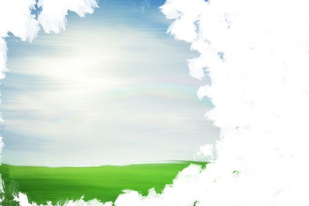 Unfinished landscape painting with copy space Stock Photo - 10675341