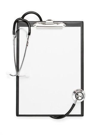 Blank clipboard with stethoscope isolated with clipping path photo