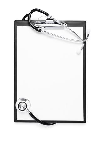 medische instrumenten: Blanco medische examen met het knippen van weg Stockfoto
