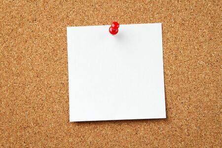 cork sheet: Blank note at the corkboard with copy space Stock Photo