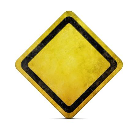 signos de precaucion: Signo de carretera vacía grunge  Foto de archivo