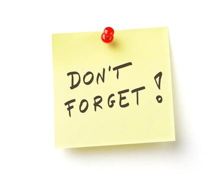 recordar: No te olvides de nota Foto de archivo