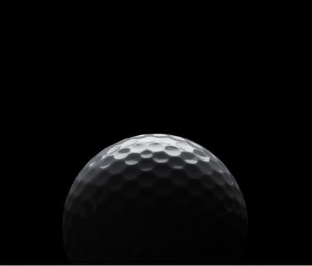 golf equipment: Golf ball on black background with copy space