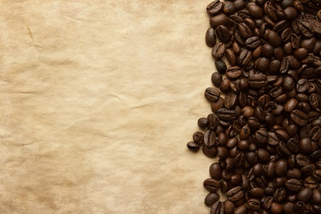 coffe beans: Coffee beans grunge background with copy space