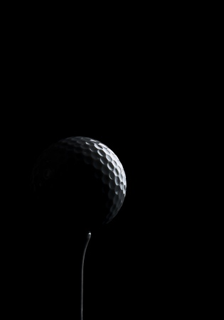 golfball: golf ball silhouette over black background Stock Photo