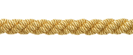 barrier rope: Gold rope isolated on white