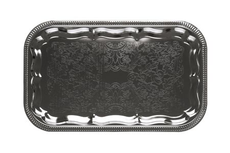 silver tray: Top view of an empty silver tray with floral ornament isolated on white