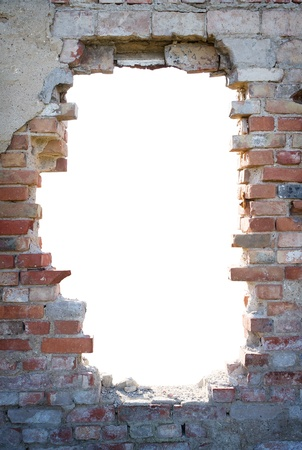 Hole in the brick wall with copy space photo